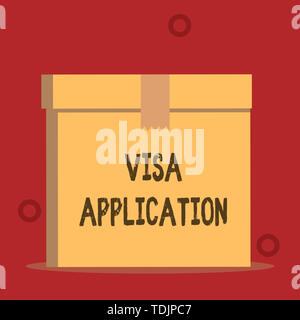 Word writing text Visa Application. Business photo showcasing Form to ask permission travel or live in another country Close up front view open brown  - Stock Photo