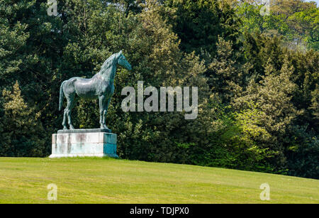 Bronze sculpture of racehorse King Tom, Dalmeny House, South Queensferry, Scotland, UK - Stock Photo