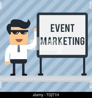 Writing note showing Event Marketing. Business concept for describes process of developing display to promote product Office Worker Sunglass Blank Whi - Stock Photo