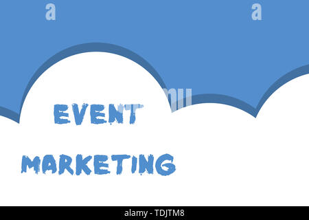 Writing note showing Event Marketing. Business concept for describes process of developing display to promote product Half cloud blue sky landscape Se - Stock Photo