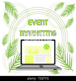 Handwriting text Event Marketing. Conceptual photo describes process of developing display to promote product Open Modern Laptop Switched On with Webs - Stock Photo