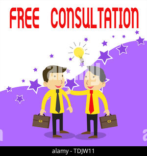 Handwriting text writing Free Consultation. Conceptual photo Giving medical and legal discussions without pay Two White Businessmen Colleagues with Br - Stock Photo