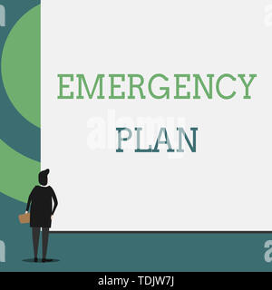 Text sign showing Emergency Plan. Business photo showcasing Procedures for response to major emergencies Be prepared Back view young woman watching bl - Stock Photo