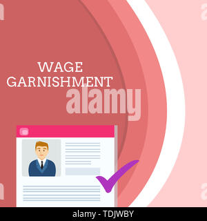 Handwriting text writing Wage Garnishment. Conceptual photo Deducting money from compensation ordered by the court Curriculum Vitae Resume of Young Ma - Stock Photo