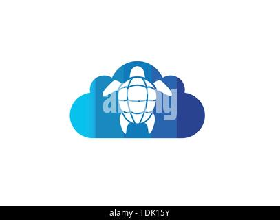 Turtle with green shell swimming for logo design illustration in a cloud shape icon - Stock Photo