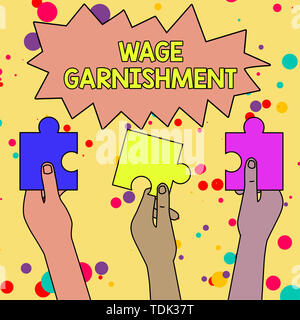 Text sign showing Wage Garnishment. Business photo showcasing Deducting money from compensation ordered by the court Three Colored Empty Jigsaw Puzzle - Stock Photo