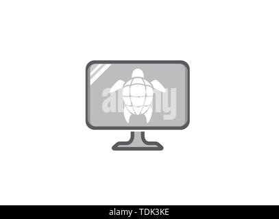 Turtle with green shell swimming for logo design illustration in a screen shape icon - Stock Photo
