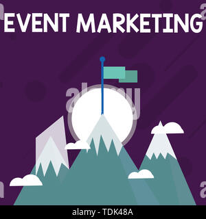 Conceptual hand writing showing Event Marketing. Concept meaning describes process of developing display to promote product Three High Mountains with  - Stock Photo
