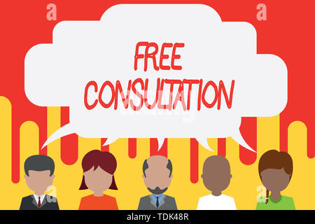 Handwriting text Free Consultation. Conceptual photo Giving medical and legal discussions without pay Five different races persons sharing blank speec - Stock Photo