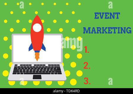 Handwriting text Event Marketing. Conceptual photo describes process of developing display to promote product Launching rocket up laptop . Startup pro - Stock Photo
