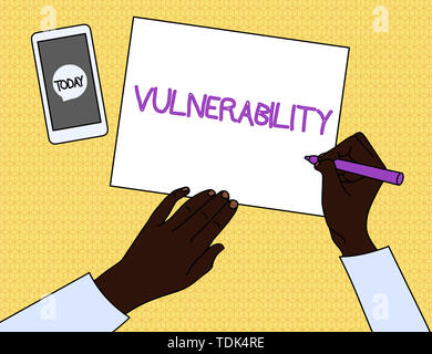 Handwriting text Vulnerability. Conceptual photo State of being exposed to the possibility of being attacked Top View Man Writing Blank Paper Pen Penc - Stock Photo
