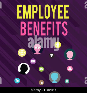 Conceptual hand writing showing Employee Benefits. Concept meaning Indirect and noncash compensation paid to an employee Networking Technical Icons Ch - Stock Photo