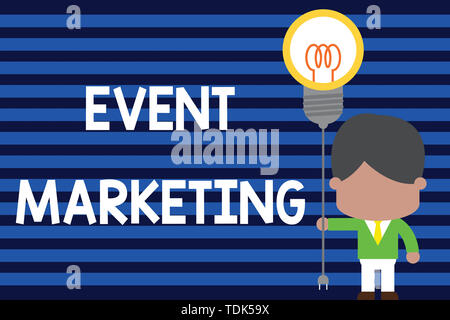 Writing note showing Event Marketing. Business concept for describes process of developing display to promote product Standing man tie holding plug so - Stock Photo
