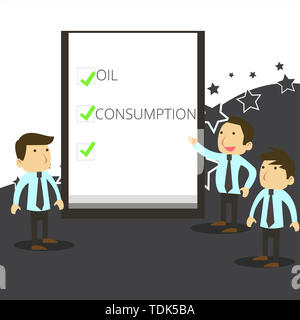 Handwriting text writing Oil Consumption. Conceptual photo This entry is the total oil consumed in barrels per day Business People Colleagues Discuss  - Stock Photo
