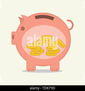 save money inside piggy bank vector illustration - Stock Photo