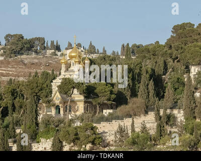 the russian church of mary magdalene on the mount of olives in jerusalem, israel - Stock Photo