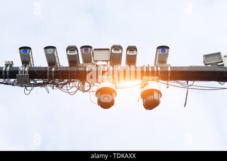 traffic camera cctv under sunshine - Stock Photo
