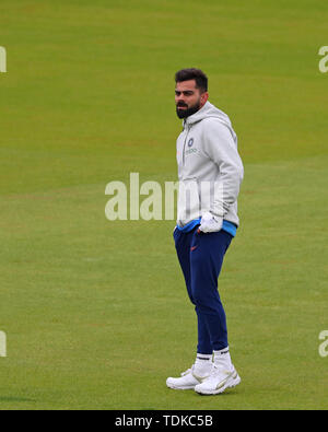 Manchester, UK. 16th June, 2019. Virat Kohli of India during the India v Pakistan, ICC Cricket World Cup match, at Old Trafford, Manchester, England. Credit: European Sports Photographic Agency/Alamy Live News - Stock Photo