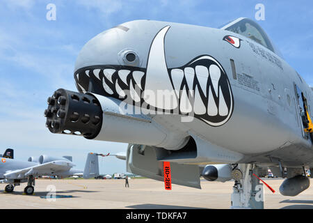 Cape Girardeau, MO, USA. 17th May, 2019. The front of the A-10 flown by Lt. Col. Lee Saugstad, during The Cape Girardeau Air Show, in Cape Girardeau, MO. Mandatory Credit: Kevin Langley/Sports South Media/CSM/Alamy Live News - Stock Photo