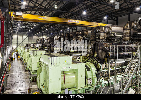 Colon, Panama. 31st Aug, 2011. Machines used for the electricity generation at the Bahia las Minas Thermal Power Plant, a coal-fired thermal power station in Colon. Credit: Ricardo Ribas/SOPA Images/ZUMA Wire/Alamy Live News - Stock Photo