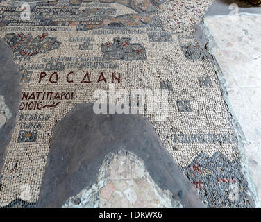 Oldest Known Map of the Old World at Mt Nebo Jordan is Ceramic on Floor of Church. - Stock Photo