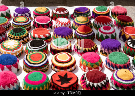 Muslim Skull Caps Are Displayed By Vendor for Sale. - Stock Photo