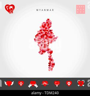 I Love Myanmar. Red and Pink Hearts Pattern Vector Map of Myanmar Isolated on Grey Background. Love Icon Set. - Stock Photo