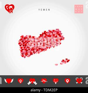I Love Yemen. Red and Pink Hearts Pattern Vector Map of Yemen Isolated on Grey Background. Love Icon Set. - Stock Photo