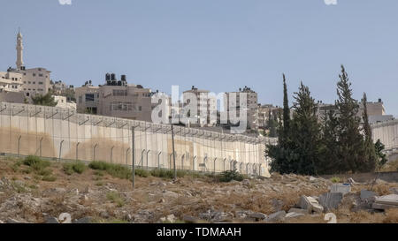 part of the border wall between palestine and israel - Stock Photo