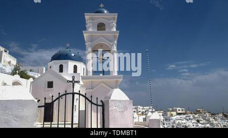 IMEROVIGLI, GREECE-SEPTEMBER, 9, 2016: church of anastasi at imerovigli on santorini - Stock Photo
