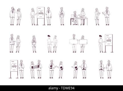 set businesspeople in different situations business people working process successful teamwork concepts collection male female colleagues sketch line - Stock Photo