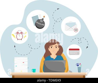 The girl is nervous about the deadline. A lot of cases, deadlines, lack of time. Flat cartoon style vector illustration - Stock Photo
