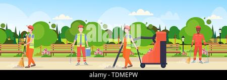 street cleaners team in uniform working together mix race male workers cleaning service concept modern city urban park landscape background flat full - Stock Photo