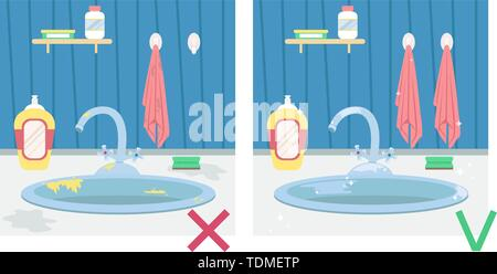 Kitchen Sink With Dirty Dishes And Towel Housework Flat