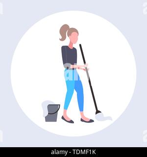 housewife mopping floor woman cleaner using mop cleaning service housework concept full length flat - Stock Photo