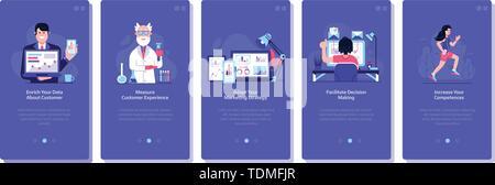 Online Business Marketing Concept Flat UI Illustrations - Stock Photo