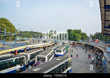 BANGALORE INDIA June 3, 2019: Stack of Buses in the Kempegowda Bus Station known as Majestic during morning time. - Stock Photo