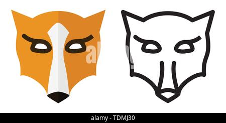 Set of icons - logos in linear and flat style Fox head Vector illustration - Stock Photo