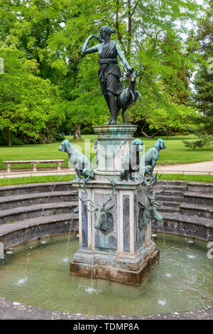 Diana fountain in Jardin de Diana, Château de Fontainebleau, Seine-et-Marne, Île-de-France region of France - Stock Photo