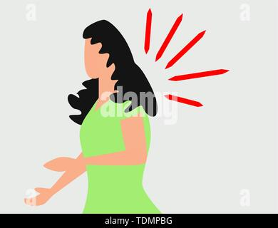 Woman having headache, migraine, pressing hand to her forehead. Half length portrait of girl, woman having headache, migraine and pain - Stock Photo