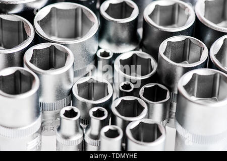 Made from advanced quality chrome vanadium steel. Strength durability and corrosion protection. Tools for repair. Chrome mechanics tools set. Shop socket sets hand tools. Wide range of metric sockets. - Stock Photo