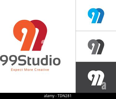 Initial Number 99 Connected Each Other Vector Logo Design Template. Vector Elements for Company Logo, T-shirts, Cards etc. - Stock Photo