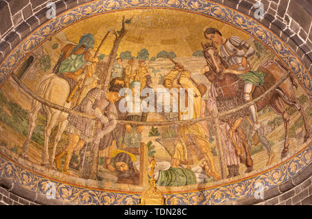 BELAGGIO, ITALY - MAY 10, 2015: The mosaic of Martyrdom of St. James the Less in church Chiesa di San Giacomo by Venetian school from end of 19. cent. - Stock Photo