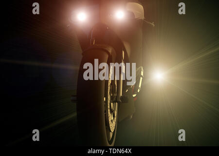 3D rendering of a motorcycle being chased by a bright light at night - Stock Photo