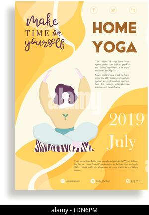 vertical flyers templates for yoga studio with image of girls or women practicing yoga, stretching, meditation, vector illustration for flyer, adverti - Stock Photo