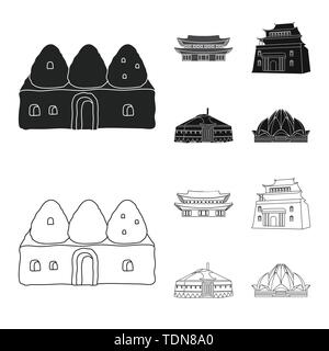 Isolated object of town and chinatown sign. Set of town and asian stock vector illustration. - Stock Photo