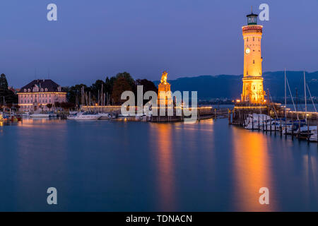 Port, Lindau, Lake Constance, Bavaria, Germany - Stock Photo
