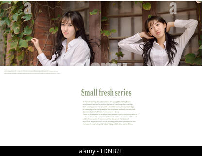 Beauty portrait design template puzzle photo album typesetting small fresh and beautiful material youth - Stock Photo