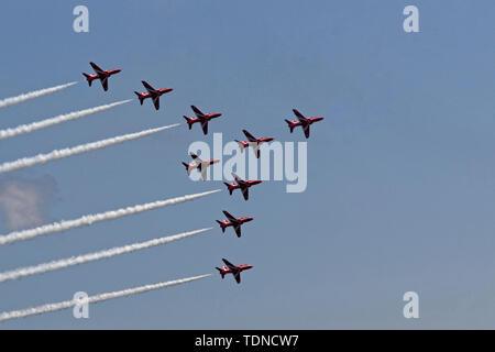 Red Arrows Diamond 9 formation - Stock Photo