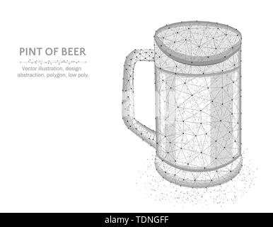 Pint of beer low poly graphic model, polygonal glass mug, alcohol drink wire frame vector illustration on white background - Stock Photo